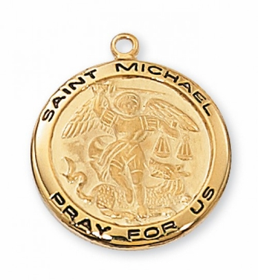 Saint Michael - 2.0cm 18Kt Gold Over Sterling Silver Medal or Sterling Silver