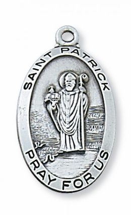 Saint Patrick, Patron of Ireland. -  2.7cm Sterling Silver Medal