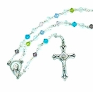 Sparkling Faceted Rondelle Style Glass Bead Rosary