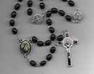 St. Benedict Large Oval Wood Bead Rosary