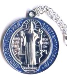St. Benedict Medal--Blue and Red Enameled