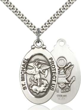 St. Christopher/Michael, Patron Saints of the MILITARY - Sterling Silver