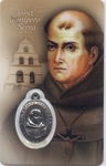 St. Junipero Serra Holy Card with medal