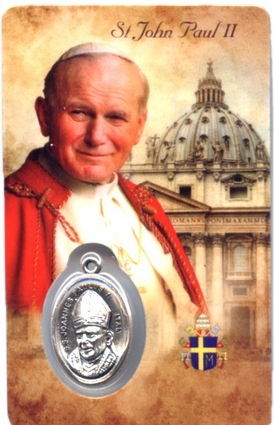 St. Pope John Paul II Holy Card with Medal