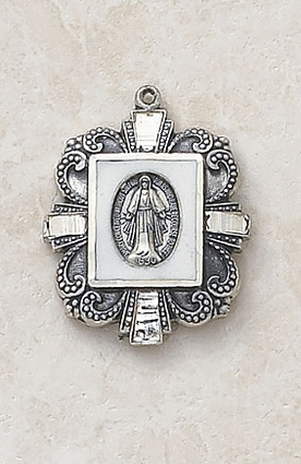 Sterling Silver/Black Miraculous Medal SS5353B