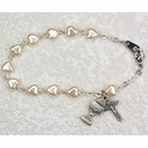 Sterling Silver White Heart Communion Bracelet BR56W