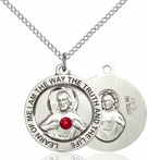 Sterling Silver Scapular Medal with Ruby 4058SS-STN7/18SS