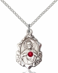 Sterling Silver Scapular Pendant with Ruby 0822SSS-STN7/18SS