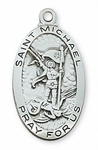 STERLING SILVER ST MICHAEL PATRON SAINT OF POLICE, EMT AND SOLDIERS