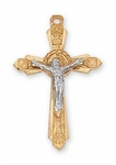 Tutone Gold on Sterling Crucifix 2.5cm 18'' chain