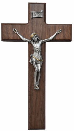 "Walnut and Pewter 10""x5.5"" Crucifix with Latin Cross, WP15"