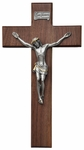 "Walnut and Pewter 12""x6.75"" Crucifix, WP17"