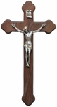 "Walnut and Pewter 14""x7.63"" Crucifix, WP8"