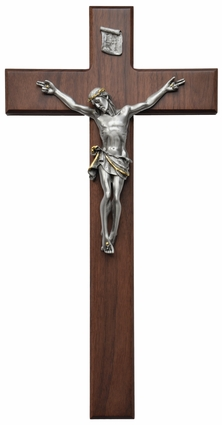 "Walnut and Pewter 18""x9.5"" Crucifix, WP25"