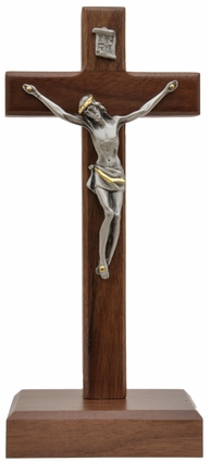 "Walnut and Pewter 8""x3.5"" Standing  Crucifix , WP2-1"