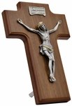 "Wood and Pewter Hanging 7.5""x5"" Crucifix, WP19"