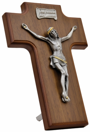 """Wood and Pewter Hanging 7.5""""x5"""" Crucifix, WP19"""