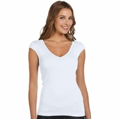 Bella Ladie's Sheer Rib Deep V-Neck T-shirt