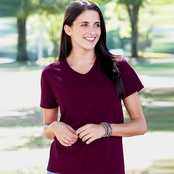 Hanes Ladie's ComfortSoft V-Neck Cotton T-Shirt