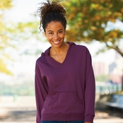 LAT Ladies' French Terry V-Neck Pullover Hoodie