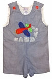 Custom Made Boy's Monogrammed Personalized Airplane Clouds John John Or Outfit.