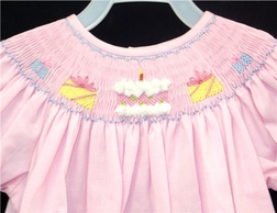 Smocked Pink Birthday Dress Or Outfit for Girls By Alennys.