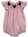 Anavini Girl's Smocked Mickey Minnie Mouse Bubble.