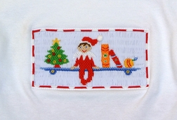 Anavini Smocked Elf on the Shelf Shirt & Ruffle Pants