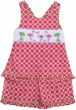 Anavini Girl's Smocked Flamingos Outfit.