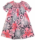 Anavini Smocked Floral Dress in Pinks and Gray