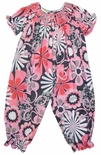 Anavini Smocked Long Bubble in Pinks and Gray Floral