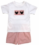 Anavini Boy's Smocked Mickey Mouse Shirt Short Set