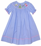 Anavini Smocked Peter Pan Dress with Wendy, John, Tinkerbell & Alligator