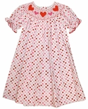 Anavini's smocked hearts dress for Valentine's day in pink red dots