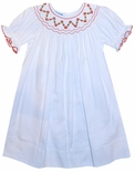 Anavini Smocked White with Red Dress for Christmas