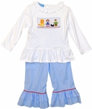 Anavini Smocked Wizard of Oz Ruffle Pants Set for Girl Toddlers
