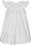 Anavini Girl's White Smocked Angel Wings Dress