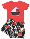 Appliqued Monogrammed Sailboat Shorts Set