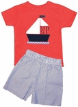 Personalized Boy's Sailboat Shirt and Sailboat Beach Shorts Outfit