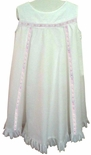 Girl's Heirloom Dress in White with Satin Ribbon, Eyelet Lace and Back Bow