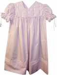 Girl's Heirloom Dress with Vertical Satin Ribbon, Pintucks and Back Button