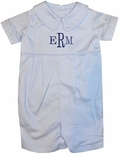 Monogrammed Boy's Shortall in Light Blue for Baby and Toddler Boys