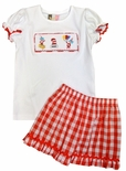 Banana Split Smocked Cat in the Hat Girl's Shirt and Shorts Outfit