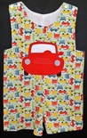 Beehave Appliqued Red Car John John on Multi Cars Fabric