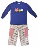 Beehave Boy's Appliqued Train Shirt and Pants Set