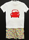 Appliqued Red Car Shirt and Shorts Outfit by Beehave