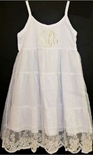 Beehave~Bumble Monogrammable White Layered Sundress with Lace Overlay