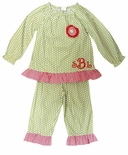 Monogrammed Girl's Christmas Pants Outfit in Green Dots by Beehave.