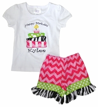 Personalized Girl's Birthday Outfit with 3 Layer Cake in Zebra & Chevron