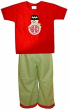 MONOGRAMMED SNOWMAN BOY'S Shirt or Shirt and Pants Outfit